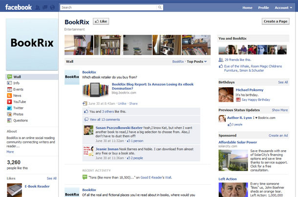BookRix Facebook Fan Page