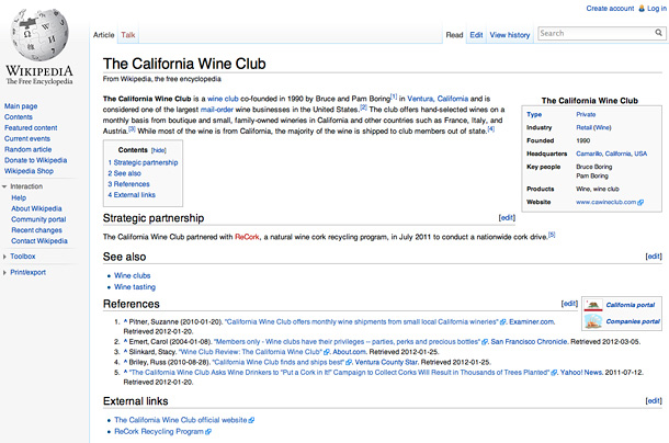 California Wine Club Wikipedia Entry
