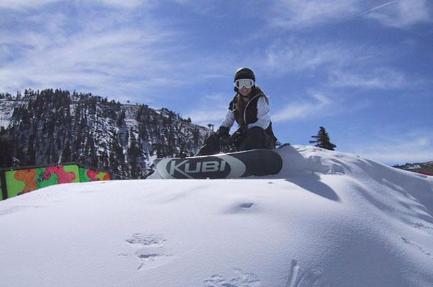 Amber riding her Kubi Snowboard