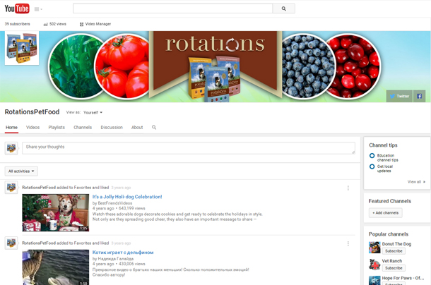 Rotations Pet Food YouTube Channel