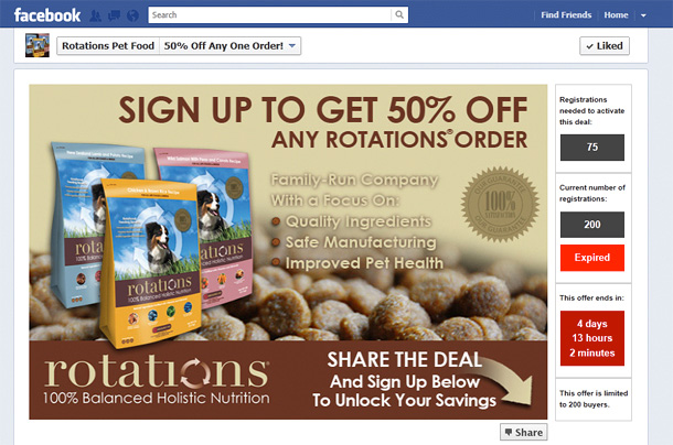 Rotations Pet Food Facebook Promo