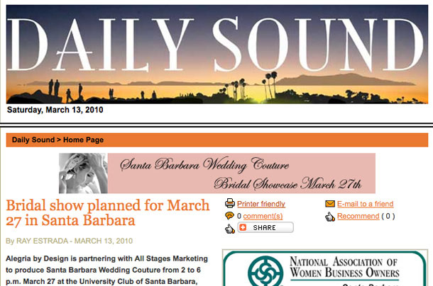 Santa Barabara Wedding Couture Daily Sound Article