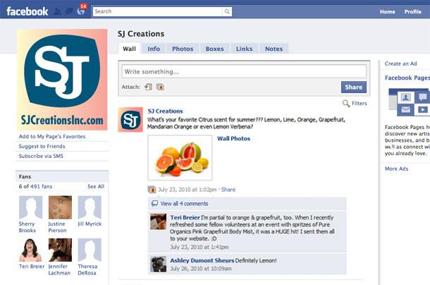 SJ Creations Facebook Fan Page