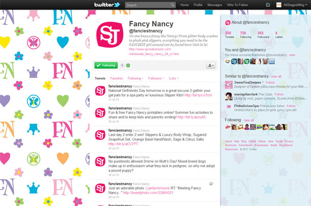 SJ Creations Fancy Nancy Twitter Account