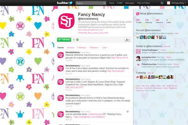 SJ Creations Fancy Nancy Twitter Account