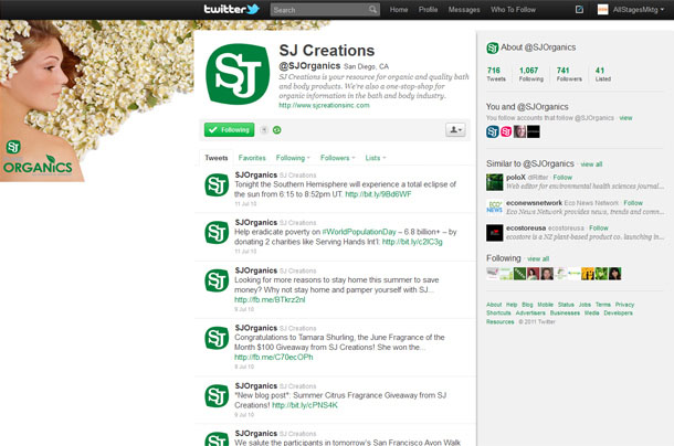 SJ Creations Organics Twitter Account
