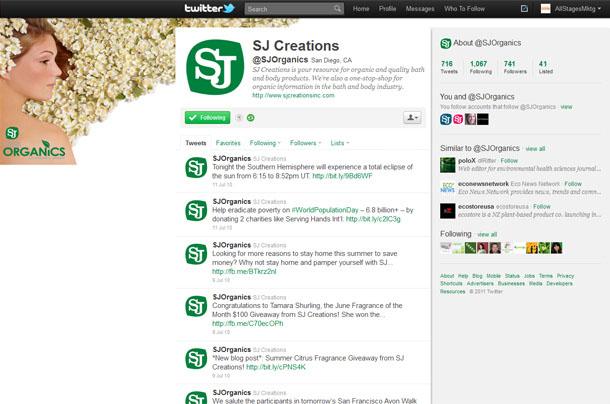 SJ Creations Organics Twitter Account